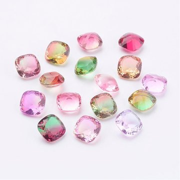 Pointed Back Glass Rhinestone Cabochons, Vierkant, Mixed Color, 10x10x6mm