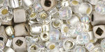 TOHO Multi shape, color mix beads. Junpaku- Crystal Silver mix