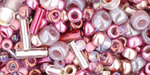 TOHO Multi shape, color mix beads. Hime Pink mix