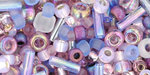 TOHO Multi shape, color mix beads. Kimono Lilac mix