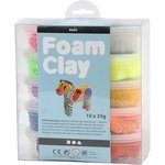 Foam Clay, kleuren assorti, basis, 10x35gr