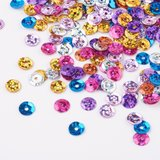 Pailetten 6 mm mix glitter, 25 gram in een gripzakje