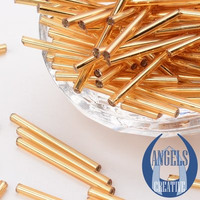 Bugles glas kralen, GOLDEN silver line, 31-34 mm, 50 stuks