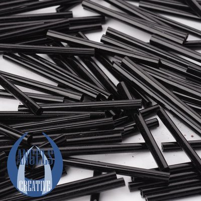 Bugles glas kralen, black, 31-34 mm, 50 stuks
