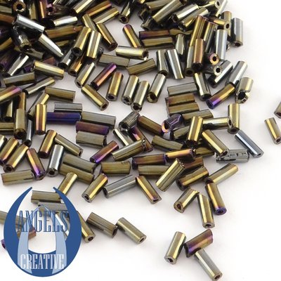 Bugles glas kralen, 4 - 4,5 mm, +/- 625 stuks, multicolor plated