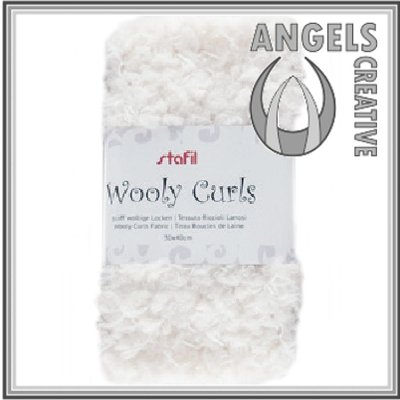 Wooly curls fabric, White