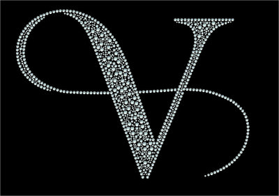 Hotfix rhinestone applicatie victoria logo A3