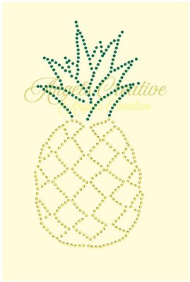 Hotfix rhinestone applicatie ananas ss06
