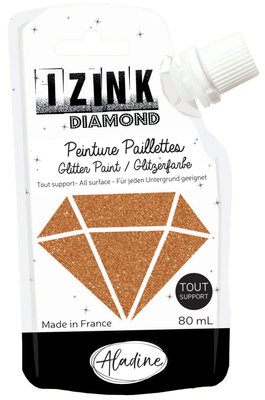 Aladine Izink Diamond glitter paint, gold copper